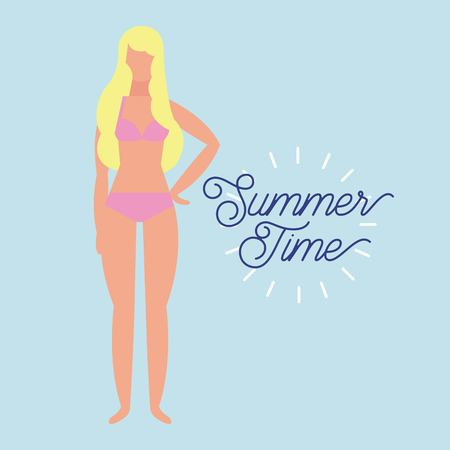 summer time vacation girl with the hand on the hip pink swimsuit vector illustration