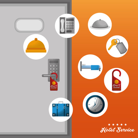 hotel building service door code bed ring call key suit clock vector illustration