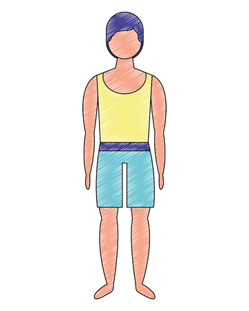 male figure character in short swimsuit vector illustration Stock Vector - 114969558