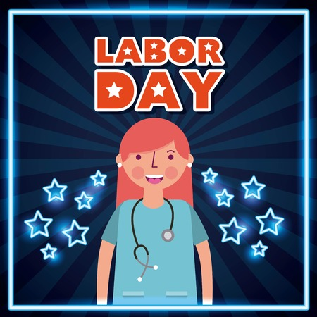 labor day card smiling woman nurse professional vector illustration