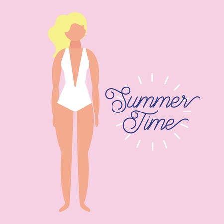 summer time vacation blonde girl with white swimsuit vector illustration Illustration