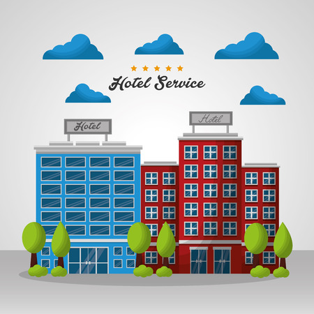 hotel colorful buildings clouds trees vector illustration