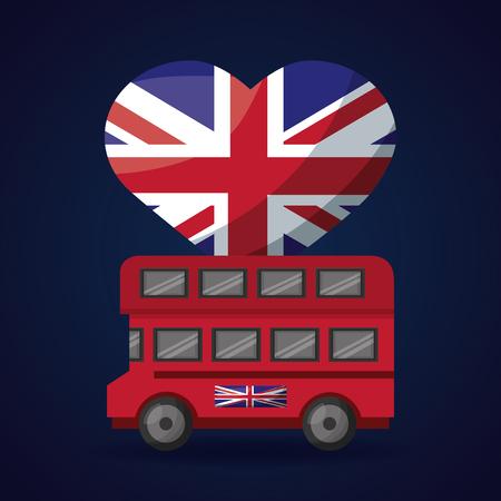 united kingdom flag heart london double decker vector illustration