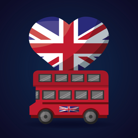 united kingdom flag heart london double decker vector illustration