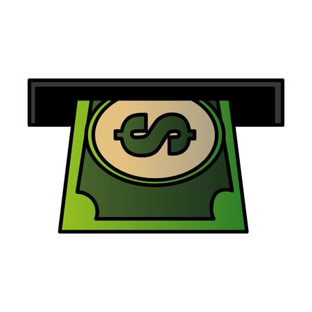 Machine à trous avec conception d'illustration vectorielle billet dollar Vecteurs