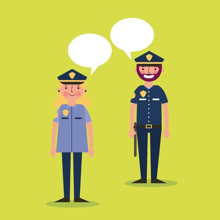 labor day card woman man police speaking vector illustration