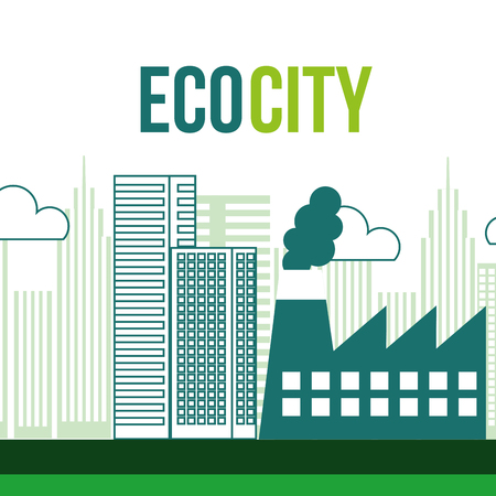 eco city industrial factory environment vector illustration