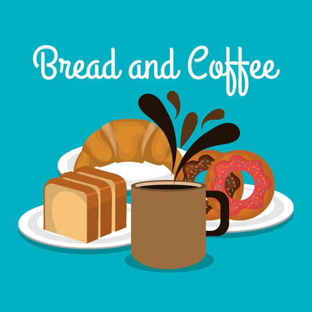 delicious breads and coffee label vector illustration design Stockfoto - 104774803