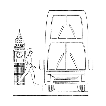 man walking london double decker bus and big ben vector illustration Imagens - 114962215