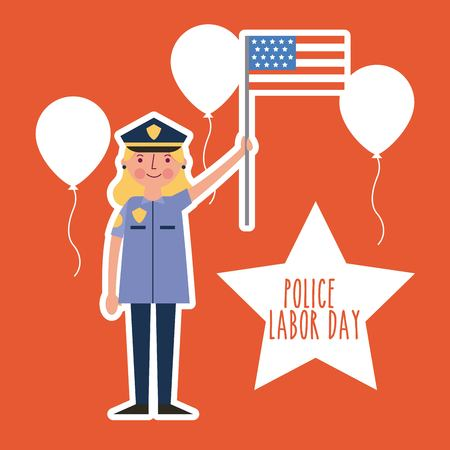 labor day card police woman smiling holding american flag celebrate vector illustration Stock Illustratie