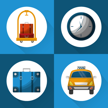 hotel service travel set icons vector illustration Иллюстрация