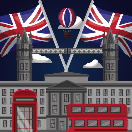 united kingdom country castle london brigde flags double decker telephone box vector illustration