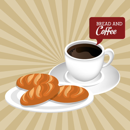 delicious breads and coffee label vector illustration design Stockfoto - 114939456