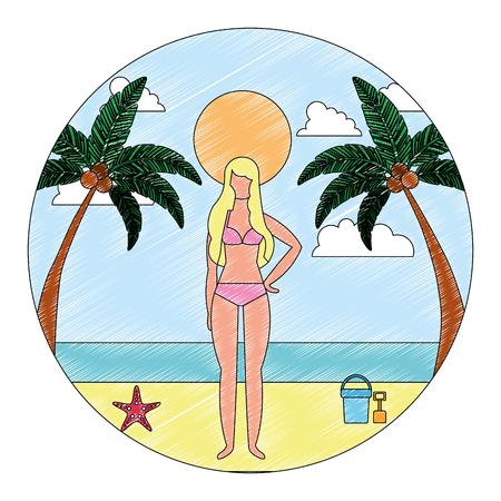 woman in swimsuit on beach with palm bucket shovel and starfish vector illustration Standard-Bild - 114950863