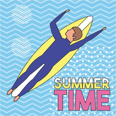 summer time vacations boy lying down table surf ocean sign enjoying vector illustration