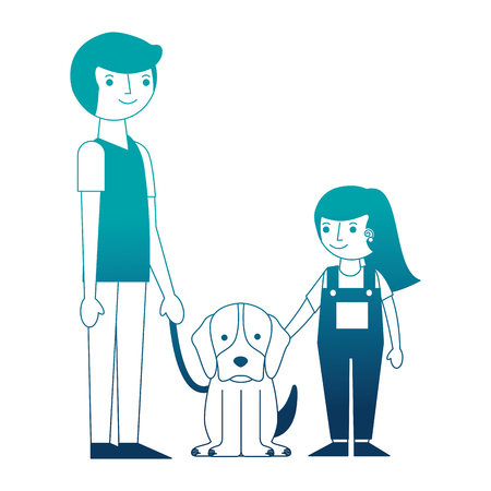 father with little girl and mascot dog isolated icon vector illustration design