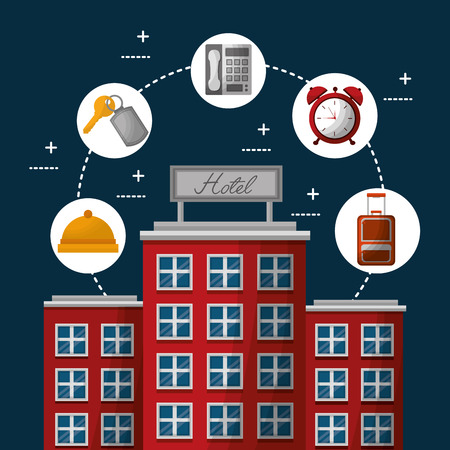 hotel building service connection time clock hanbag ring telephone key suit vector illustration