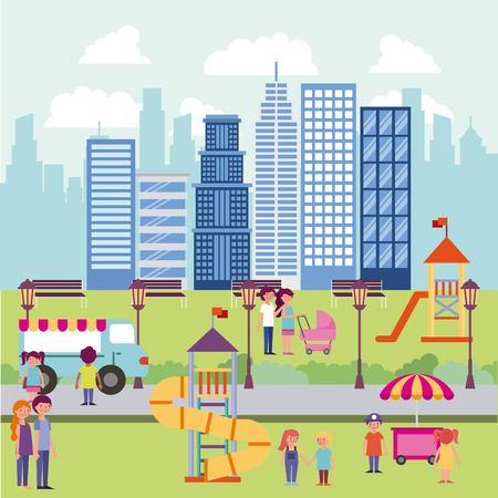 people park and city high buildings game for childrens food car happy familys vector illustration Illustration
