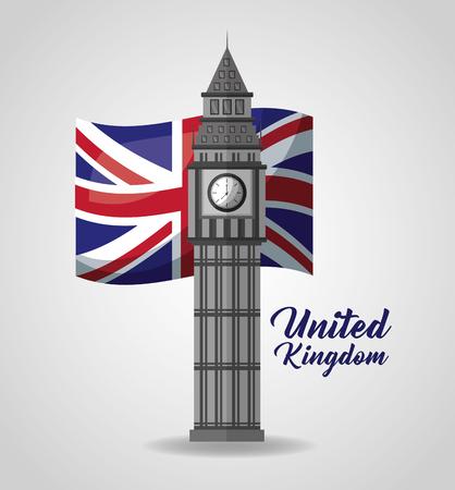 united kingdom places flag big ben sign vector illustration 向量圖像
