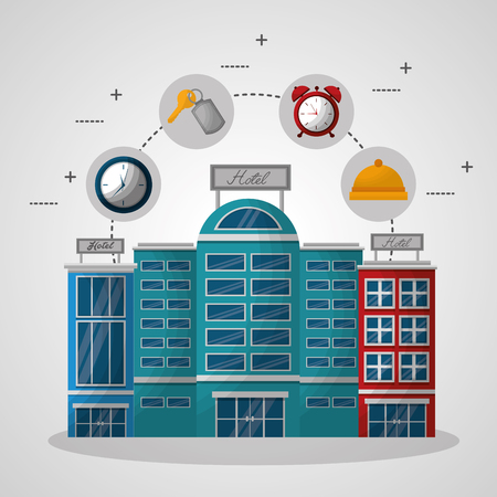 hotel building stickers key suit clock ring reception time service vector illustration