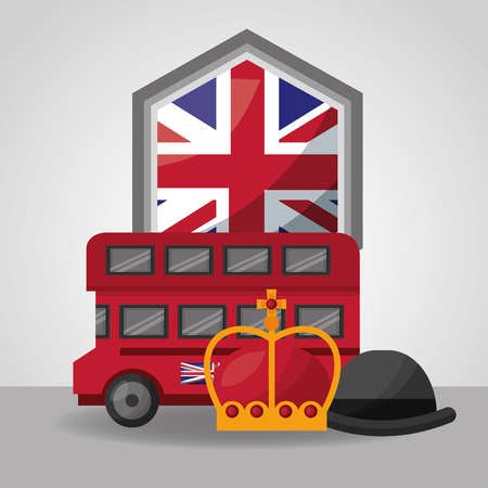 united kingdom country flag shield london double decker crown queen hat vector illustration