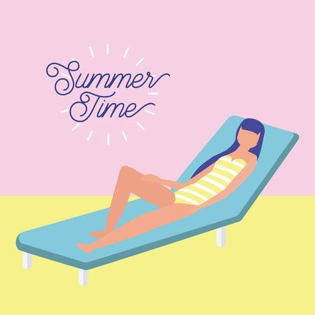 summer time vacation girl lying down enjoy outdoor vector illustration