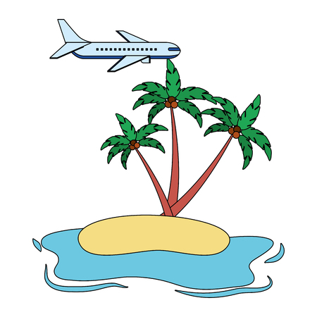 beach ocean coconut palms airplane vector illustration