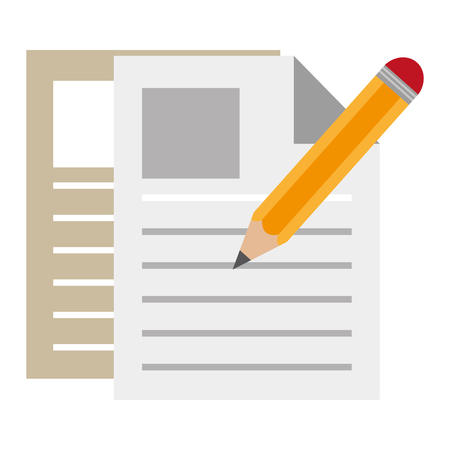 pencil write with documents vector illustration design Illusztráció