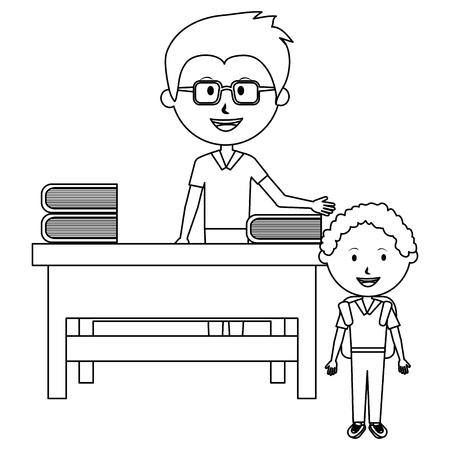 man teacher with desk and boy vector illustration design Çizim