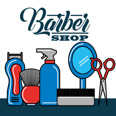 barber shop mirror scissors comb dough brush machine cut spray vector illustration