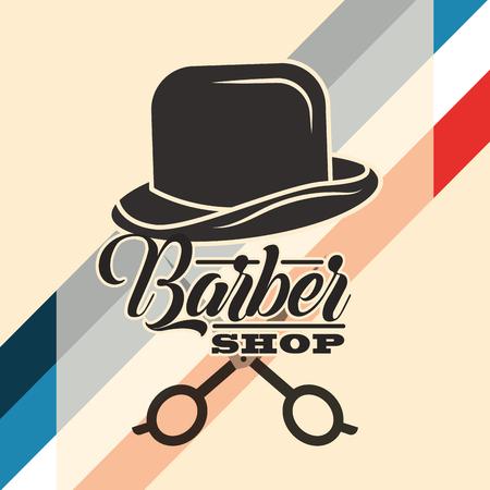 barber shop hat gentleman scissors hair cut vector illustration Illustration
