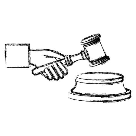 Richterhand mit Gerechtigkeitshammer-Vektor-Illustrationsdesign Vektorgrafik
