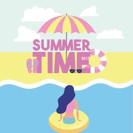 summer time girl giving back sea float umbrella sandals vector illustration