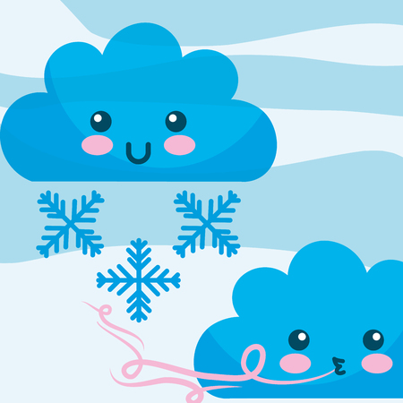 kawaii clouds wind snowflakes winter cartoon vector illustration Stock Vector - 114962227