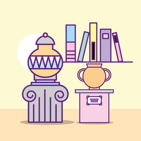 Museo monumentos diseño stand libros archivos jarrones históricos ilustración vectorial