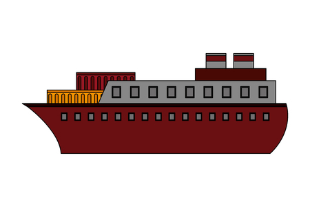 container ship boat transport maritime vector illustration