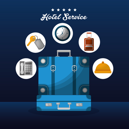 hotel building service blue handbag stickers ring call a time clocks key suit vector illustration