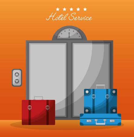 hotel building service elevator handbags red bag vector illustration