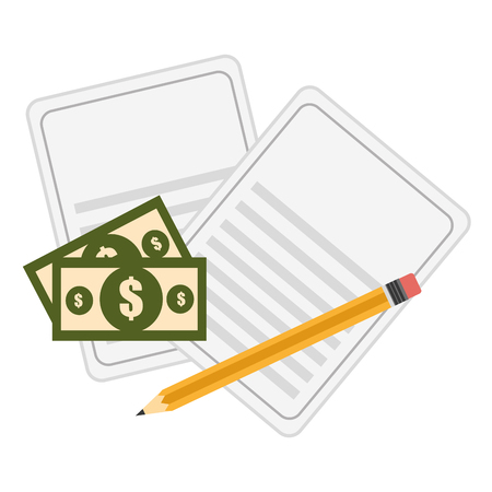 documents with bills dollars and pencil vector illustration design Illusztráció