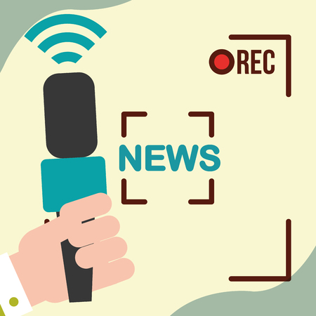 news communication relate rec camera film interview hand microphone vector illustration Illustration