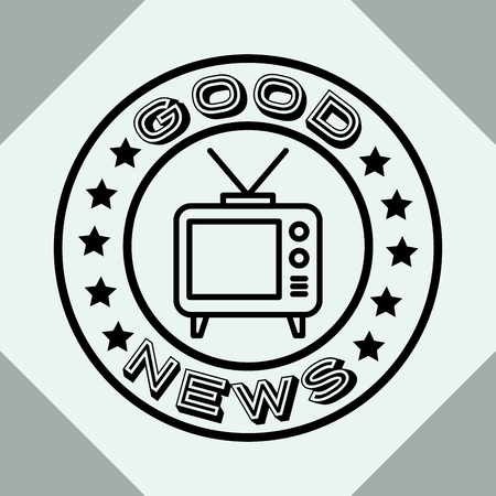 news communication relate sticker sign television good infomation vector illustration