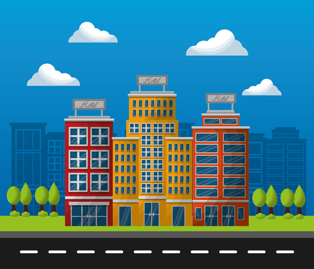 hotel building service road sunny day clouds lodging vector illutration