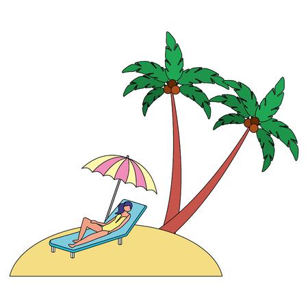 woman on deck chair umbrella beach palm vector illustration Foto de archivo - 114912636