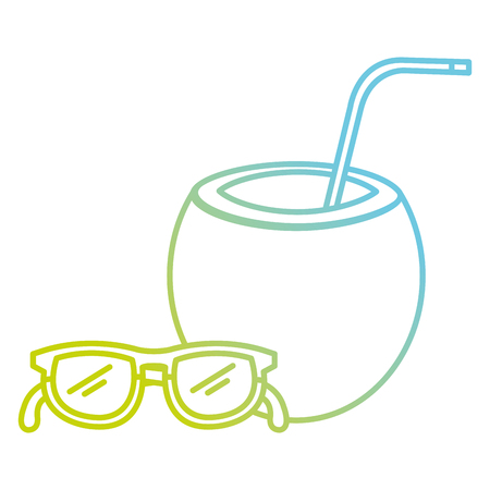 tropical coconut cocktail with sunglasses vector illustration design 일러스트