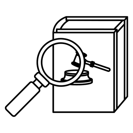 justice book with magnifying glass vector illustration design Stock Illustratie