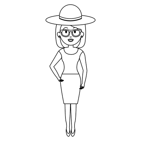 woman with hat and sunglasses vector illustration design