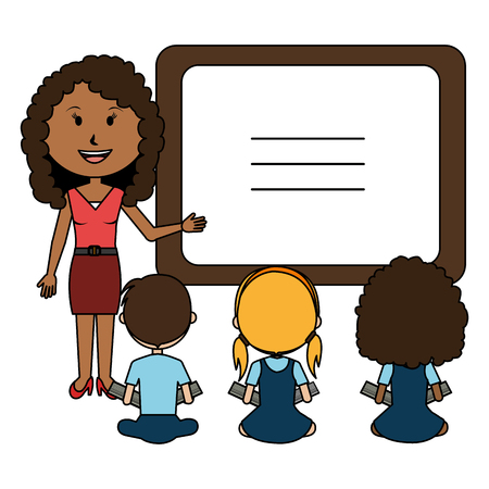 woman teacher with chalkboard and students vector illustration design