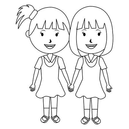 students girls couple characters vector illustration design