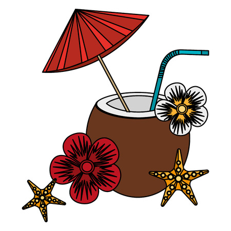 tropical coconut cocktail with flowers and starfish vector illustration design