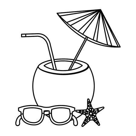tropical coconut cocktail with starfish and glasses vector illustration design  イラスト・ベクター素材